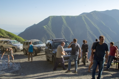 Taking a break as we approach the Tusheti pass, not far from Chechnya border.