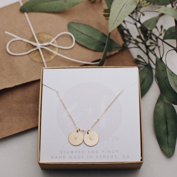 Double Circle Necklace - Or single or triple! Stamped with the initials of each of their kiddos.