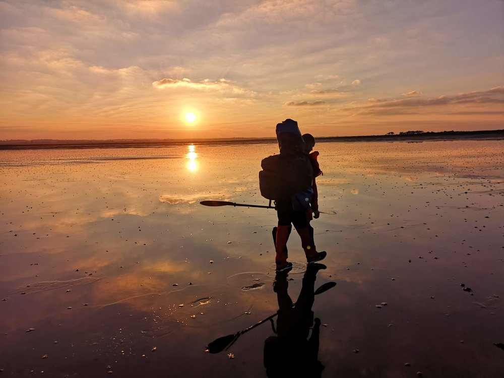 Hiking to our camp before the sun sets and the tide returns.  We were tempted to continue paddling but at this stage we were a long way from dry land, which is not somewhere you want to be caught out after dark as the tide can return faster then you can run.