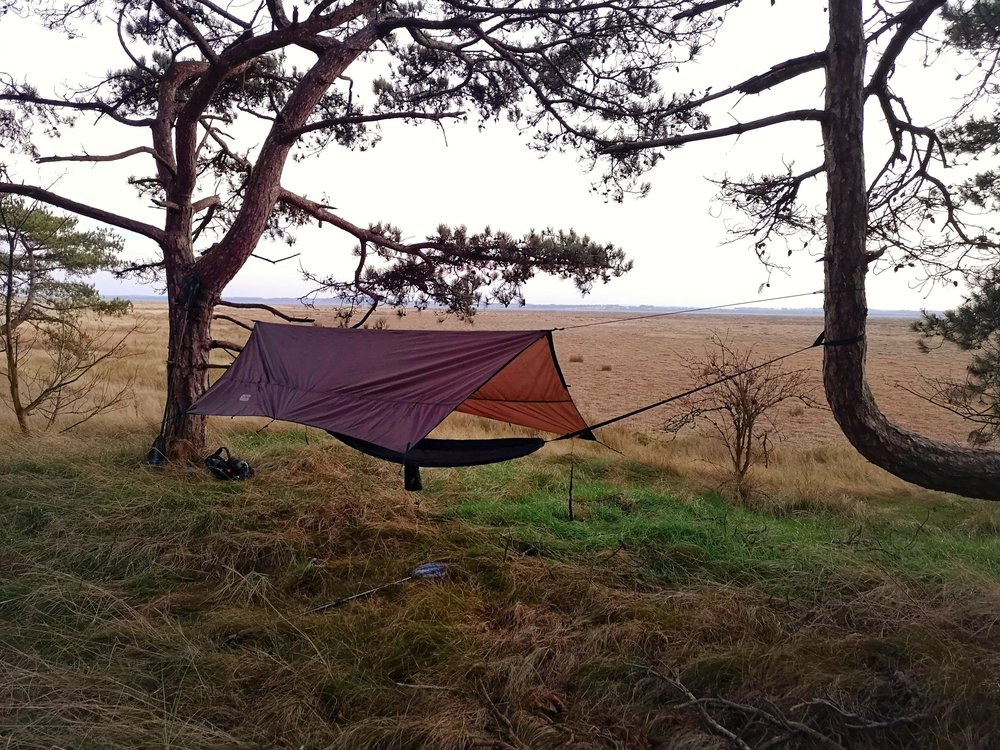 My bed for the night on an island overlooking the marshes. The perfect spot to watch the total lunar  eclipse  due in the early hours of the next morning (labelled a Super Blood Wolf Moon by the papers).
