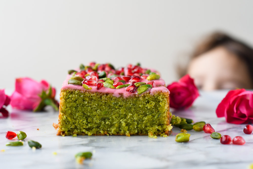 green pistachios and lesser amount of flour