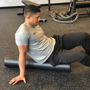 To target the gluteal muscles, sit on the roller in a vertical position. Due to the pattern of the gluteal muscle fibers, rolling side to side will be best to relax musculature.