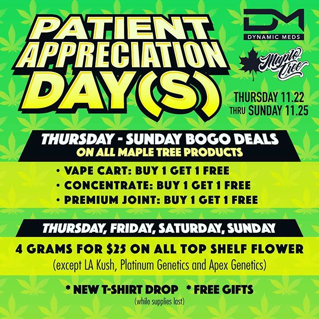 Patient Appreciation Day(s) starting this Thursday. New T-shirt drop! Free gifts and great deals all weekend long. Make sure to stop by and pick up some 🔥🔥🔥