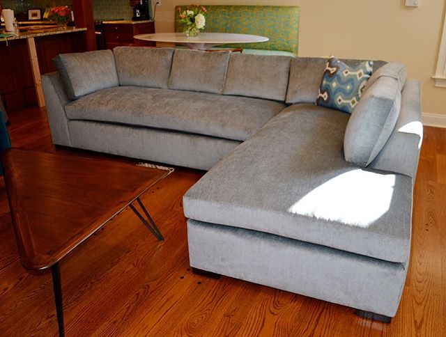 Contact us for more information about our custom furniture! Here's our Auckland sectional in Maxwell Rabat Pluto! Everything's built to order and upholstered in the fabric of your choice, ready to ship to your home in 8-10 weeks. 🛋 •  #kennedycustomupholstery #kcu #customupholstery #interiordesign #ocnj #instadesign #housetour #beachhouse #furniture #handmade #smallbusiness #oceancitynj #customfurniture #furnituredesign #custommade #fabric