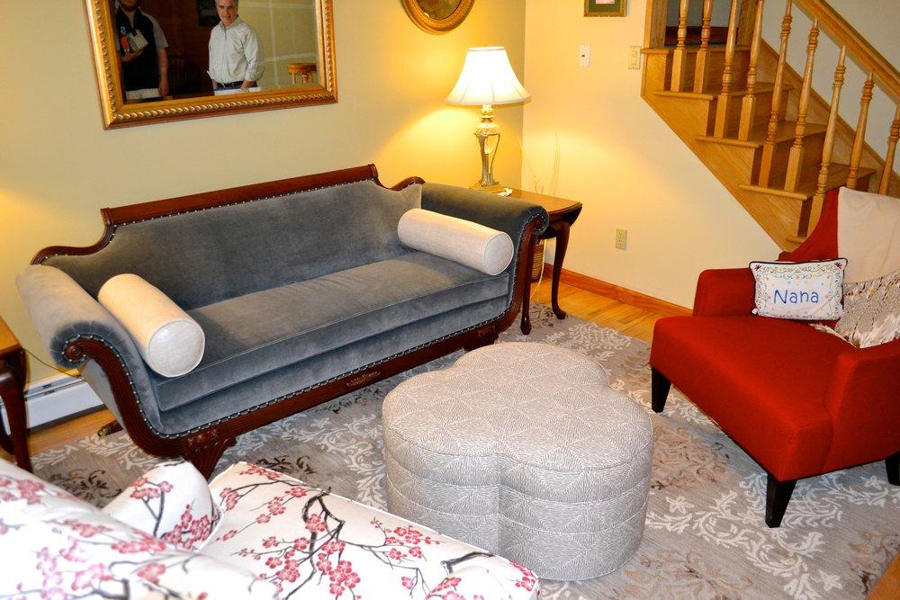 Duncan Phyfe sofa in slate velvet.JPG