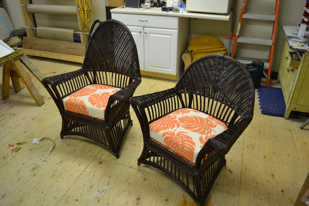 Wicker chairs with leaf cushions.JPG