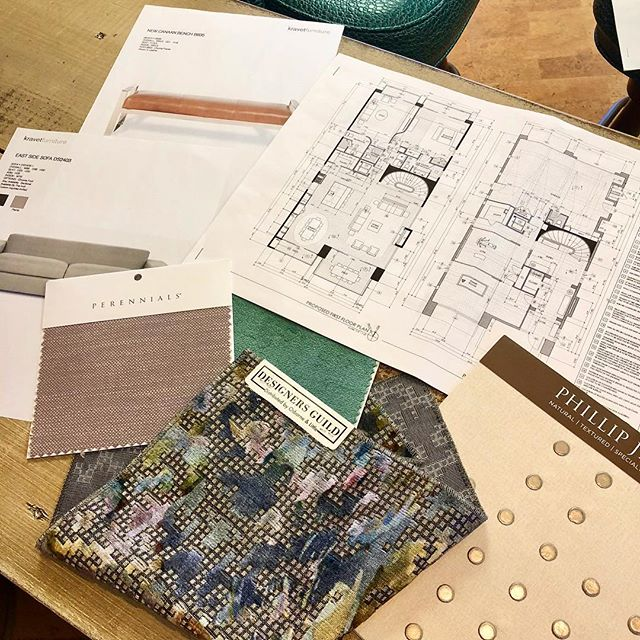 Playing with fabrics and furnishings for a new project! • #kennedycustomupholstery #kcu #fabric #customfurniture #interiordesign #beachhouse #philipjeffries #perennialsfabrics #kravetinc #designersguild