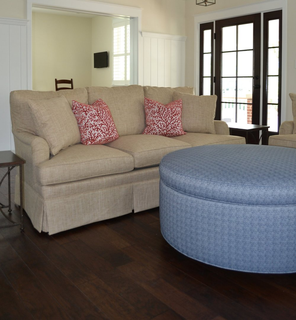 Our Popular Coral Gables Sofa And Castle Harbor Storage Ottoman Upholstered  In Sunbrella Fabrics With Cut