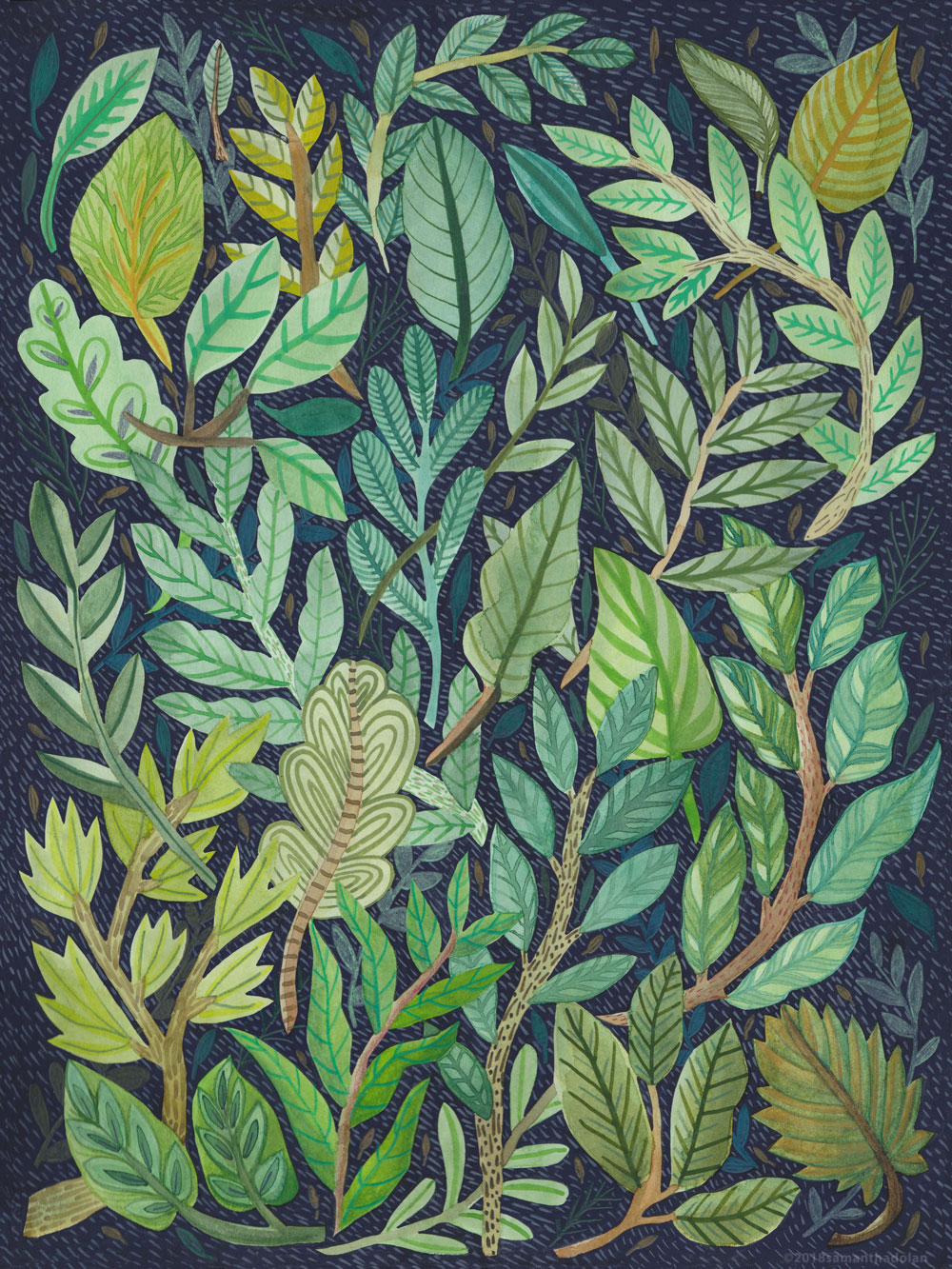 The Forest Floor, Gouache on Paper, 2018