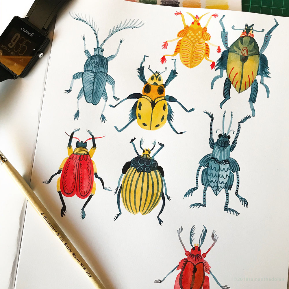 Working with a limited palette painting more bugs! June 2018