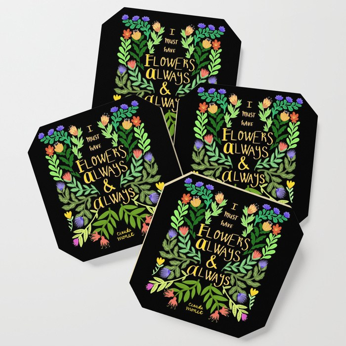 Monet quote society 6 coaster by samantha dolan
