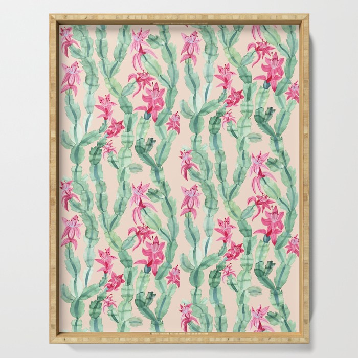 Pink christmas cactus serving tray by samantha dolan