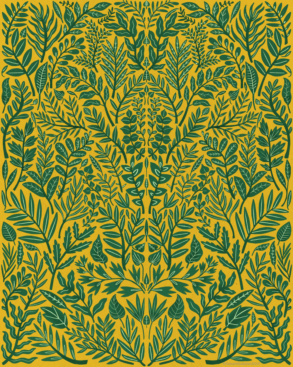 Green Botanical Damask