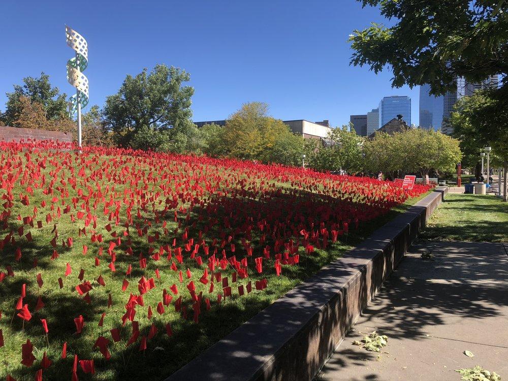 Auraria Red Flag Installation. 2018.