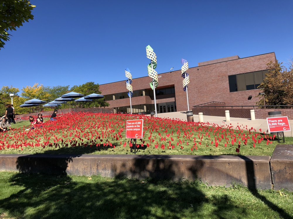 8,600 Flags… - 8,600 flags are installed outside the Plaza Building on the Auraria campus to raise awareness about relationship violence.