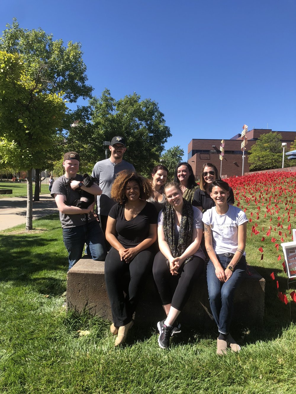 Teamwork! - Some of our staff & volunteers who were able to help us set up our installation this year!Left to right: Top - Sid Nelson (Lead VPE), Bug Amoa-Awuah (PCA Rookie Pup of the Year), Joe Matz, Megan Alpert (PCA Director), Jenae McCall (VPE), Olivia Feldkamp (CU Denver Conduct Educator) Bottom - Elizabeth Amoa-Awuah (VPE Coordinator), Abby Pierce (VPE), Taylor Bergeron (Business Services Coordinator)2018.