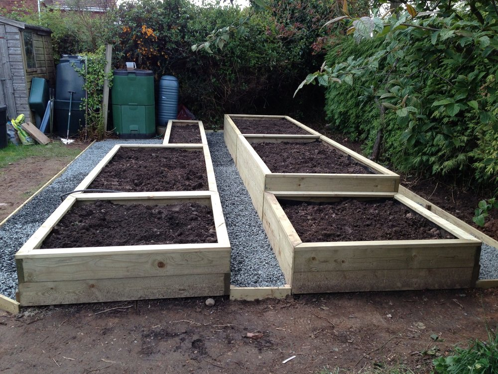 Raised beds with Clee Hill stone pathways