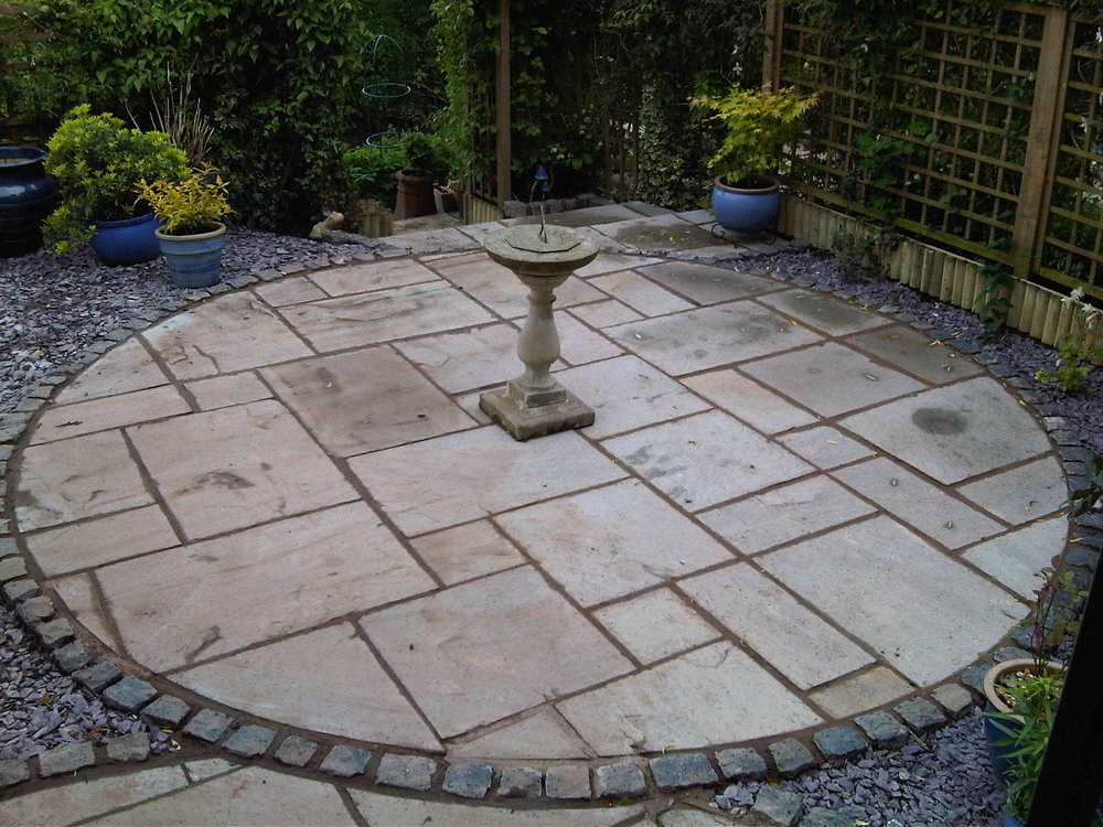 Natural stone paving with granite sett edging - Kinver, West Midlands