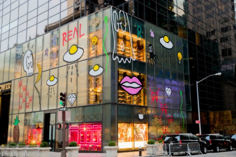 GucciGhost's intervention into a Gucci storefront in Manhattan. Photo: Kevin Tachman. Courtesy Gucci.