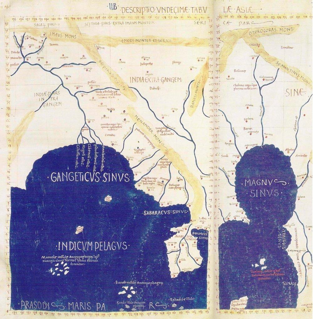 «Asien» aus «Geographia» von Ptolemäus (87 – 150 n. Chr.)   Alexandria (Ägypten)