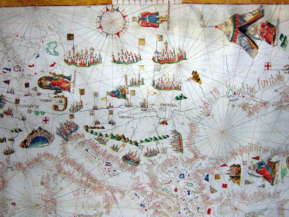 Portolan auf Pergament (Küstenlinien)   um 1500