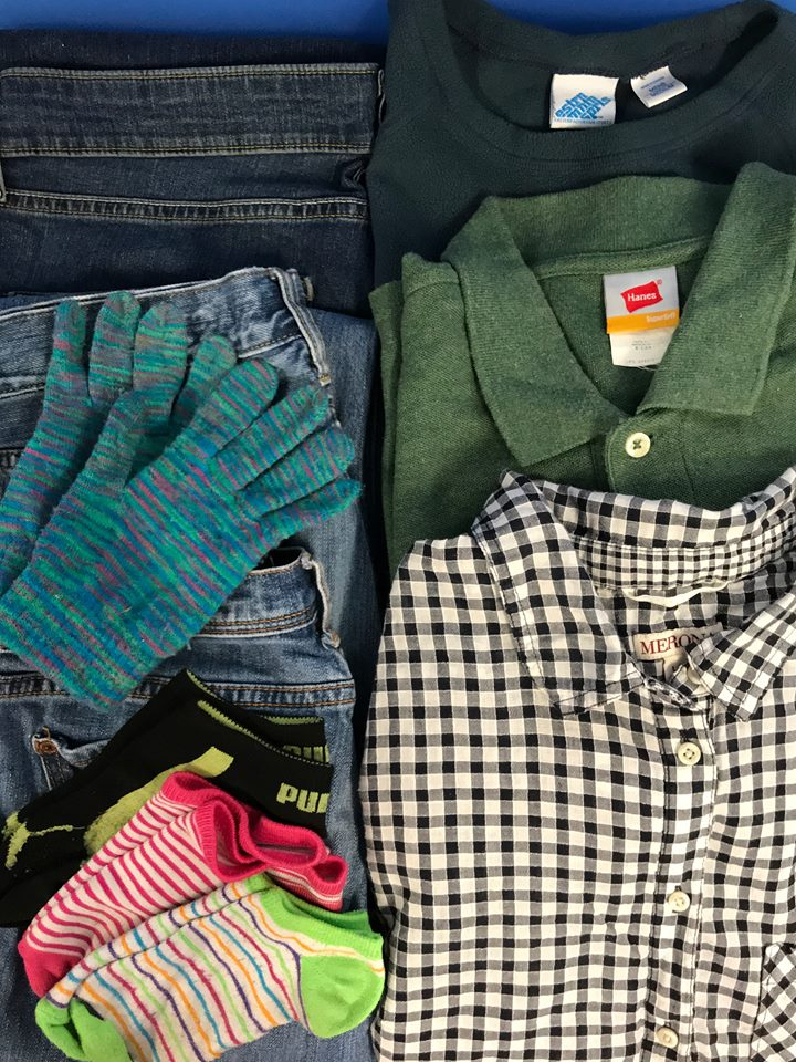 Clothes - Socks, gloves, hats, underwear, coats, scarves, shirts, pants, shoes, leggings, and any kind of winter wear. Please donate adult-sized clothes, as we do not have children in our facility.