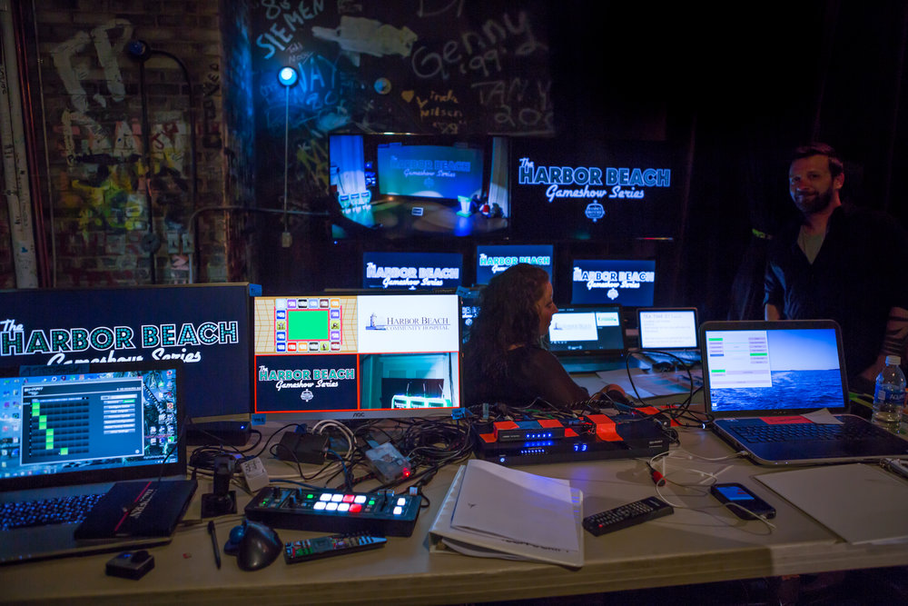 The control room of The Harbor Beach Gameshow Series has continued to grow each year. It takes seven skilled and talented technicians to operate all of the technology.