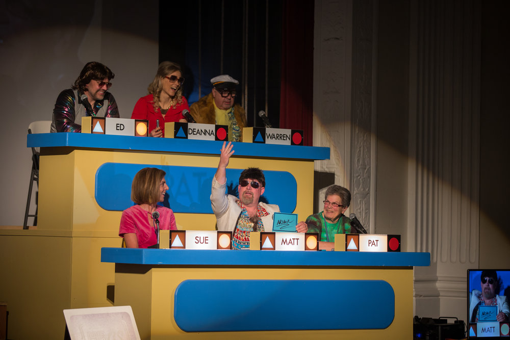 Matt Woodke, builder of all HBGS sets and celebrity panelist, doesn't agree with the show's judges during the 2016 Harbor Beach Gameshow Series.