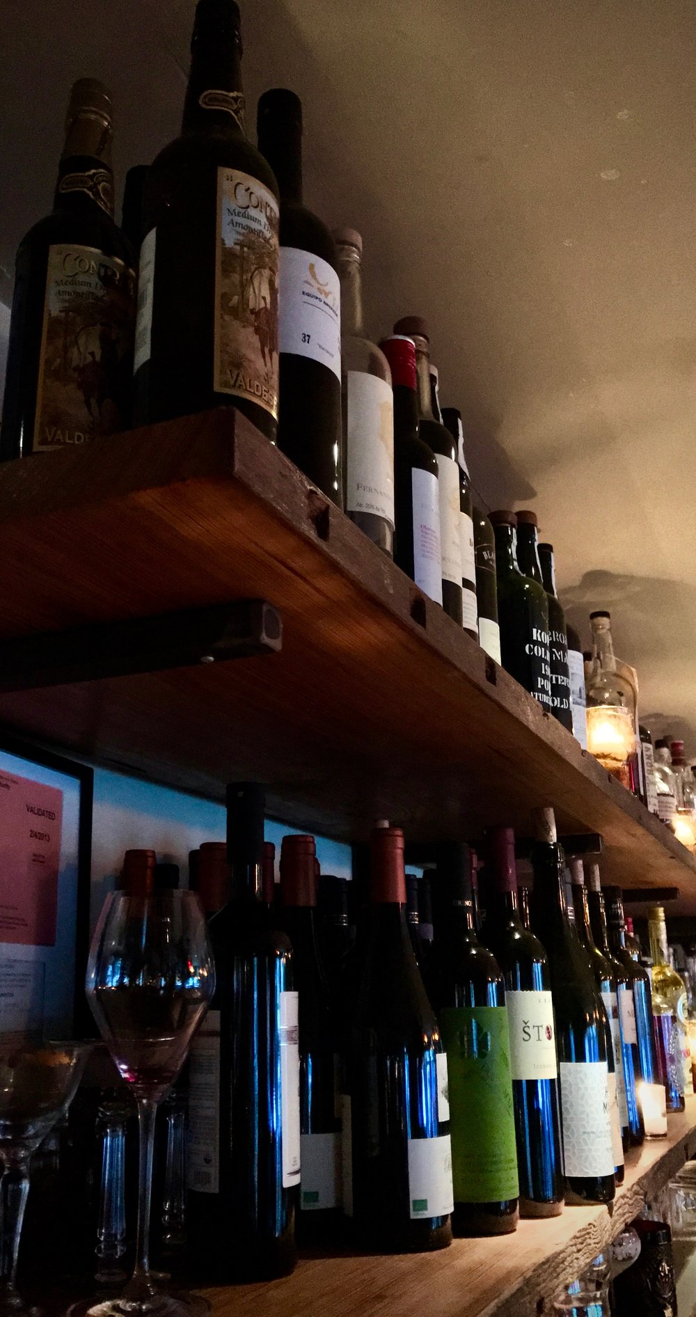 Some of the wine selection at Hearth in the East Village.