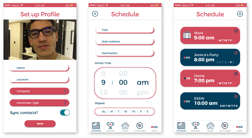 Once the account creation process is started, the user builds their profile and continues building their schedule of events with time, date and location information so the app can calculate the best departure times and routes.