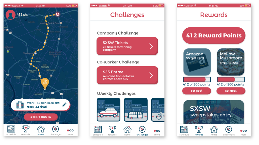 Regular use of the app becomes a process of the user selecting their choice of route to gain points, earning additional points through challenges, and redeeming accumulated points for various tiers of prizes.