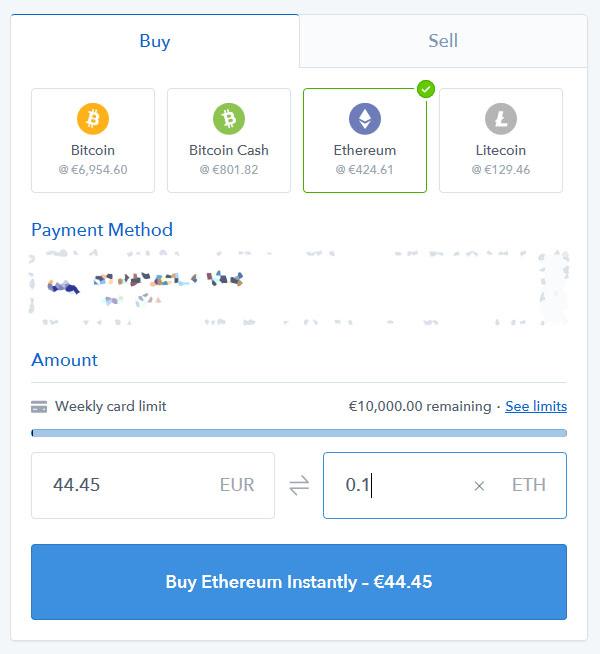 Slik ser menyen ut når du kjøper ethereum.