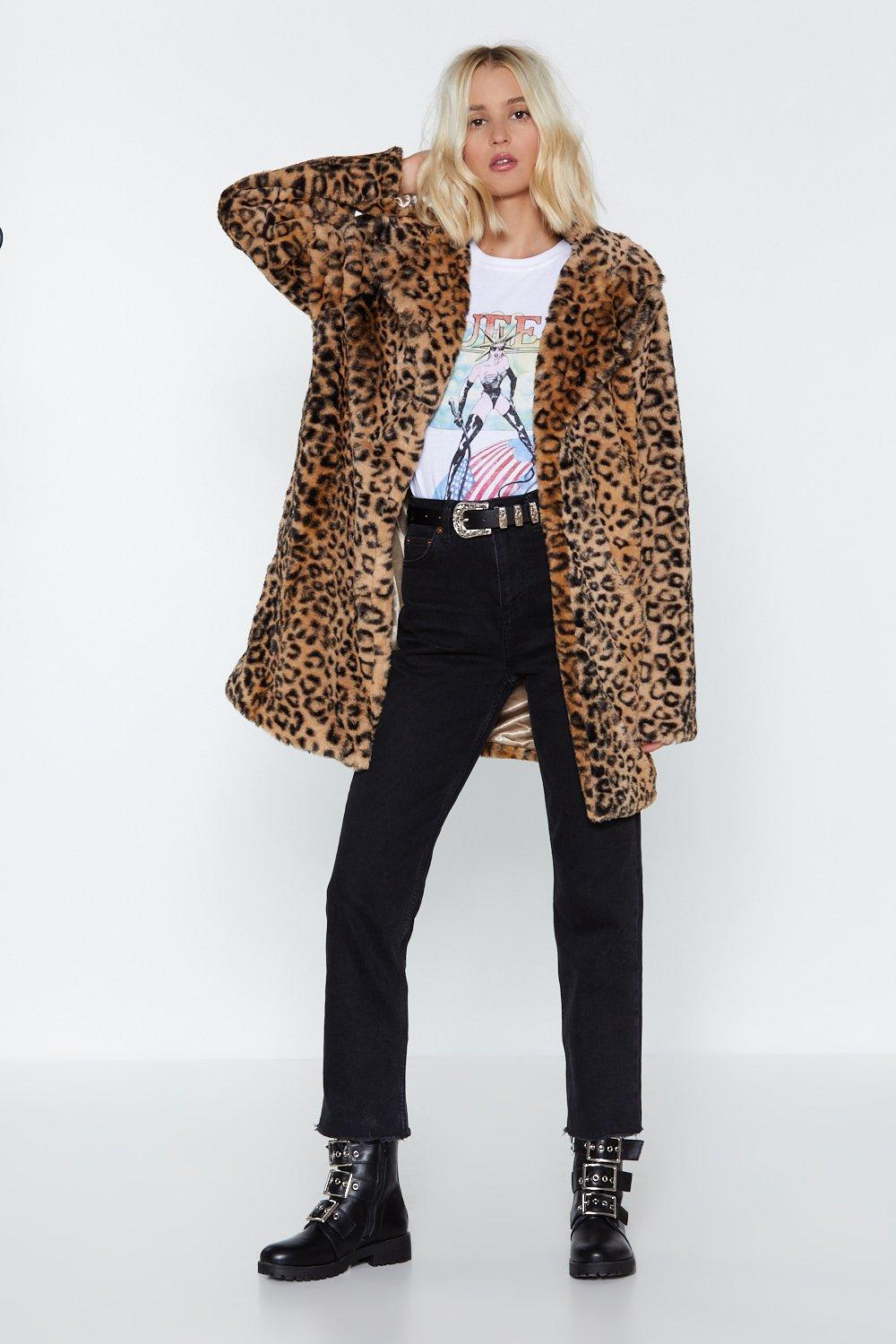 Leopard Faux Fur Coat - 60% OFF