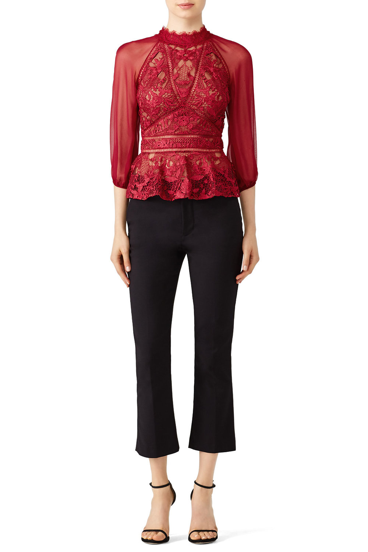Marchesa Notte Chiffon Sleeve Top - Details, details, details! Pair with black pants or jeans!