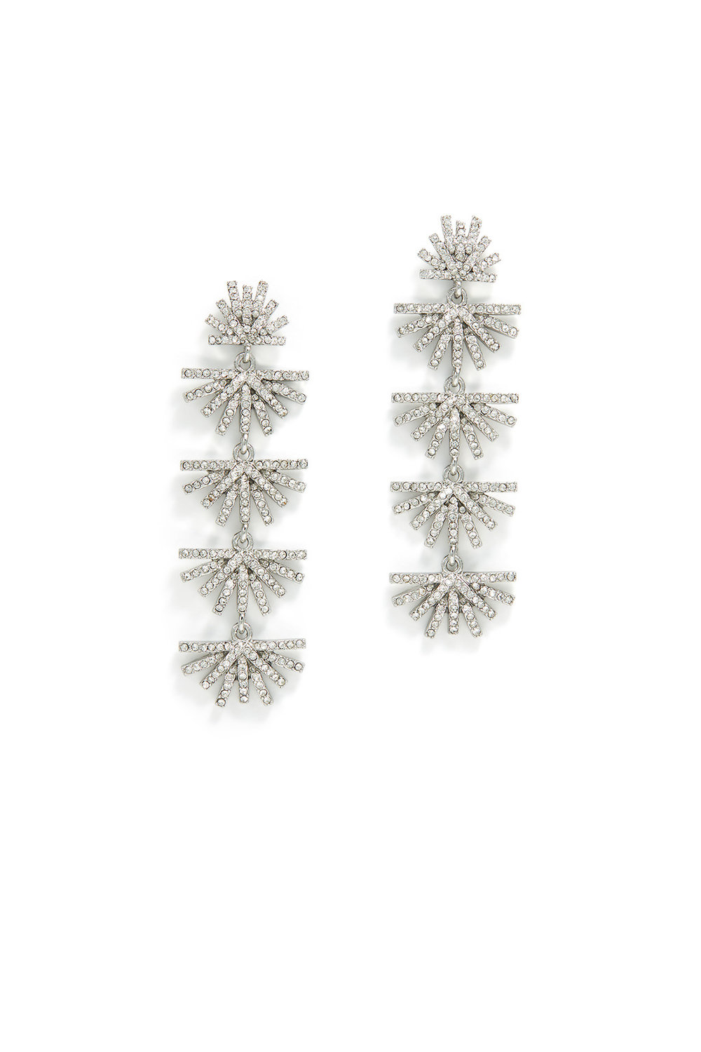 Lele Sadoughi Crystal Palm Grass Earrings - These look like snowflakes but in earring form