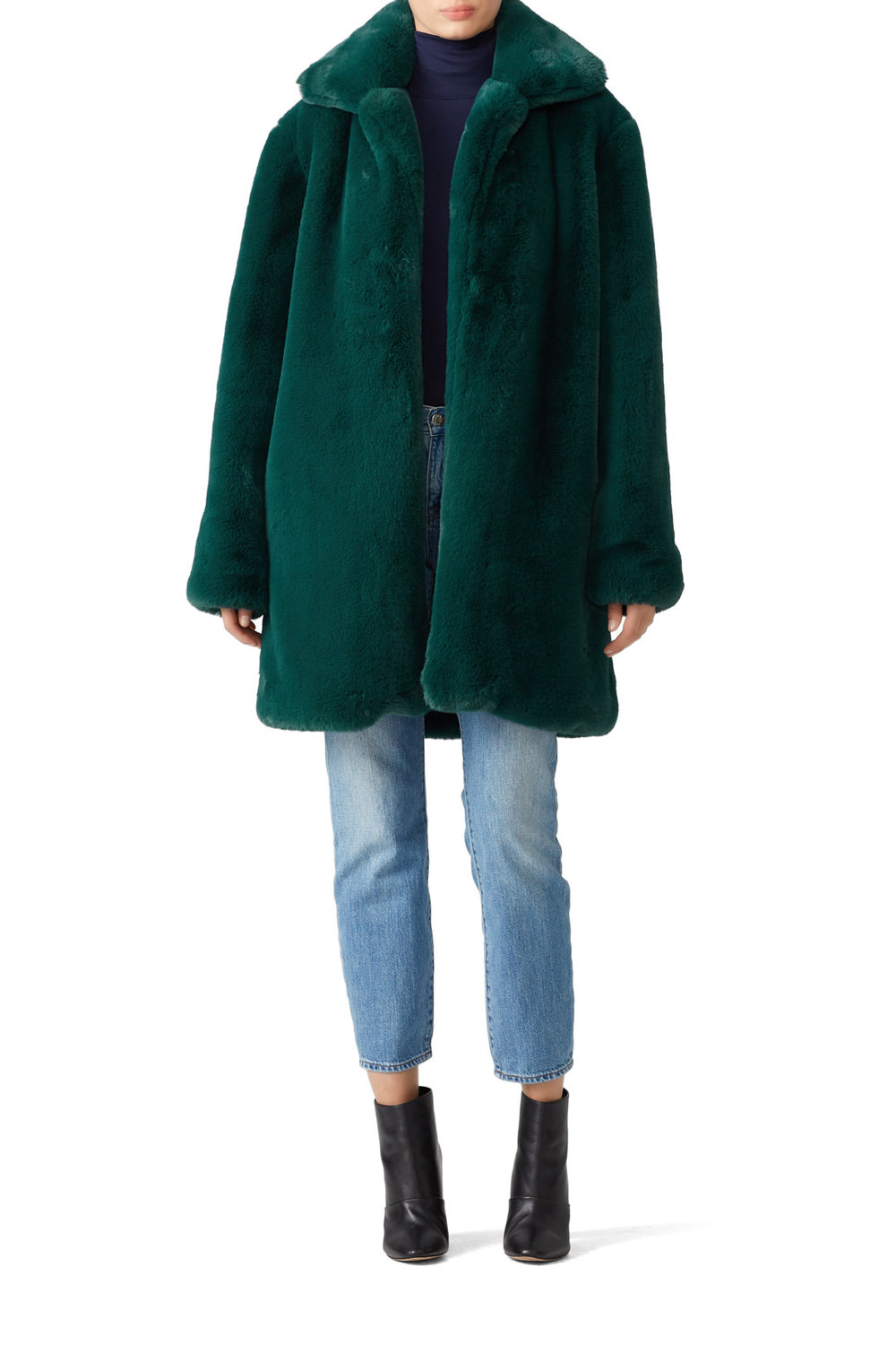 Somedays Lovin Emerald Dreaming Faux Fur Coat - Green. Warm. Cozy. Checks all the boxes