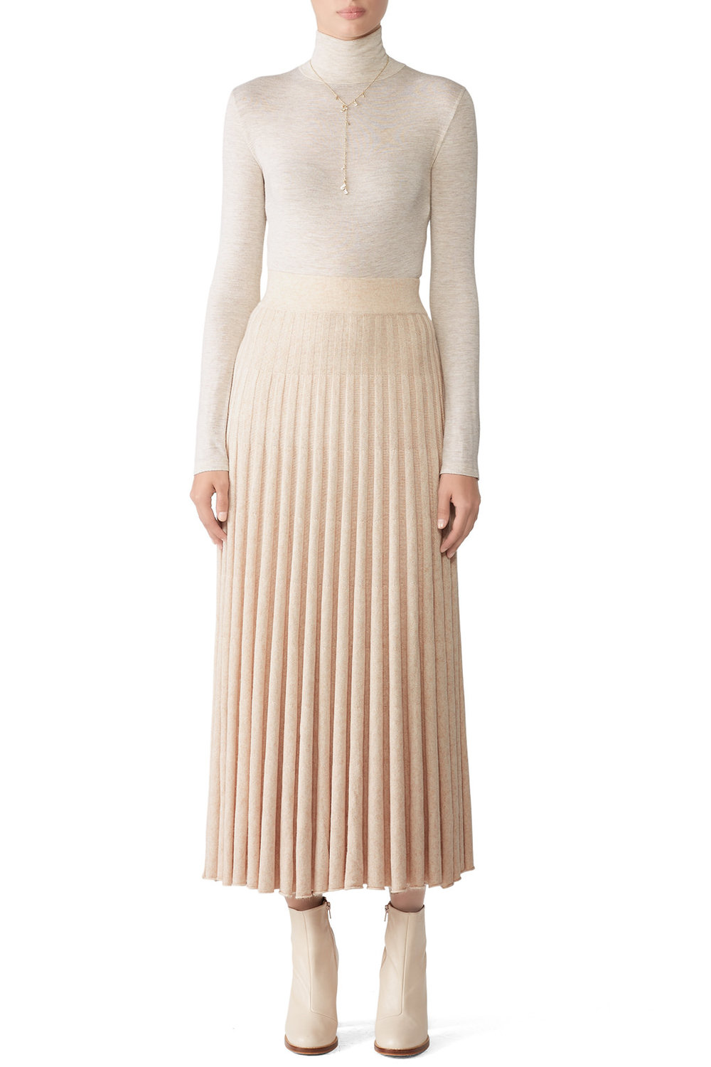 CAARA Gala Crème Pleated Skirt - Great staple skirt. Plus it goes down to your ankles so you know you're not offending your stuffy relatives