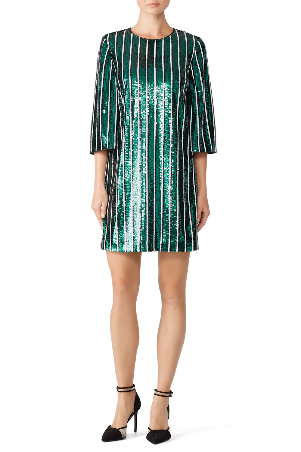 Badgley Mischka Green Stripe Sequin Sheath - IDK I just like this. You should rent it.