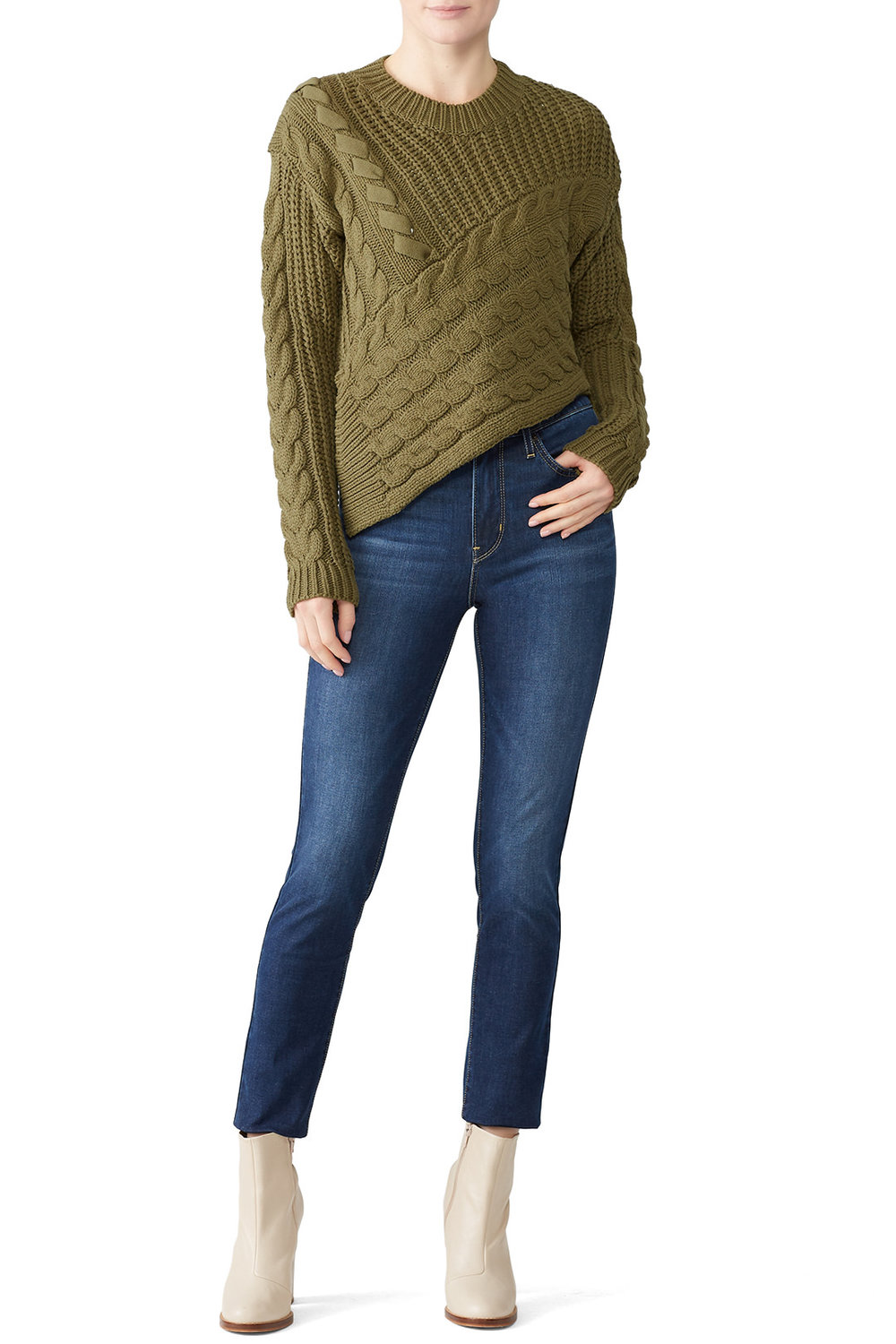 Line + Dot Olive Asymmetric Sweater - I just rented this and I couldn't be happier. It's such a fun take on a classic cable knit sweater.
