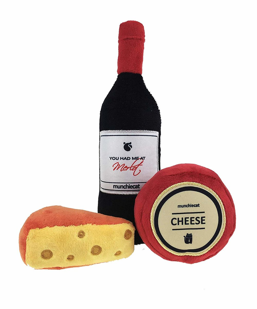 For wine snob cats - Stella won't play with any other toys that don't resemble human food or drinks. She's such a snob… So this is what she's getting this year.
