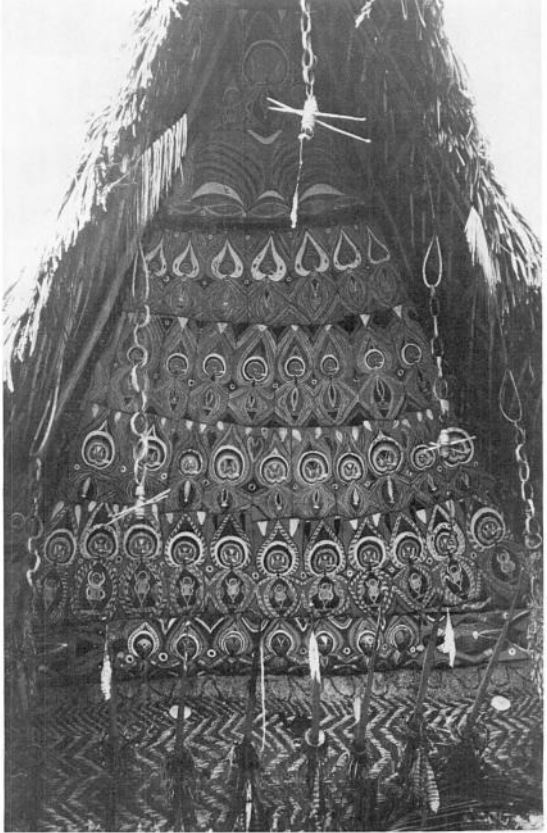 """The spirit house of Nggwal Walipeine [the top initiation rank], Ilahita village."" from  The Voice of the Tambaran  (1980) by Donald Tuzin"