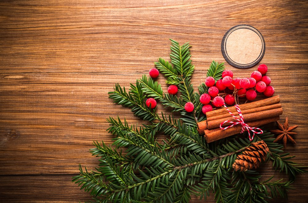 holiday pine and berries