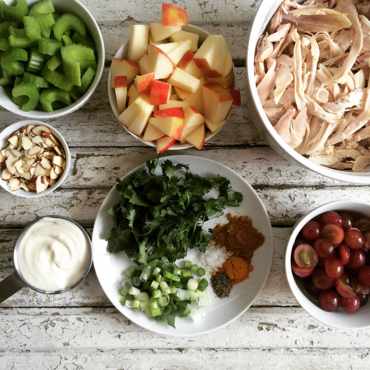 curried chicken salad with apples and grapes