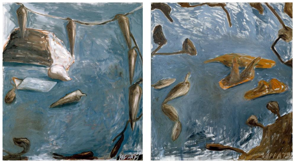 Stundenablauf , 1979, Oil on canvas diptych, 51.37h x 45.27w in (130.5h x 115w cm each), Morat-Institute, Freiburg in Breisgau