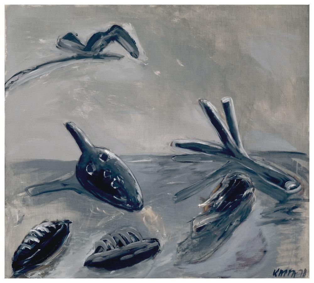 Vorzeichen , 1978, Tempera on canvas, 49.21h x 55.11w in (125h x 140w cm)