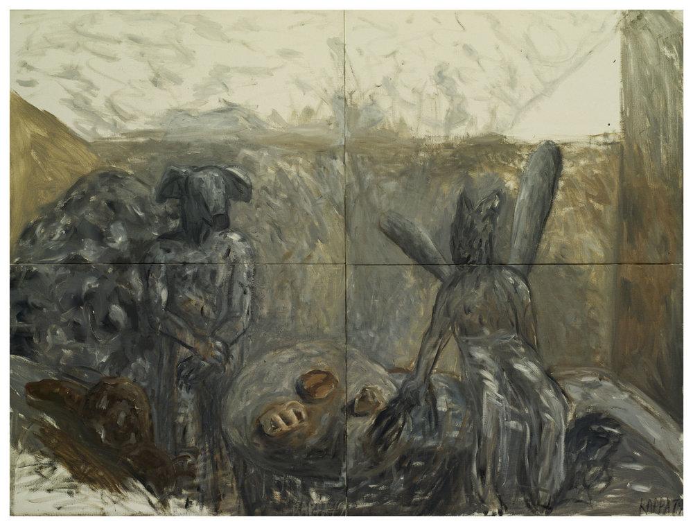 Ungeklärtes Zusammentreffen , 1979, Oil on canvas, 47.24h x 62.99h in (120h x 160w cm in four-parts), Private collection