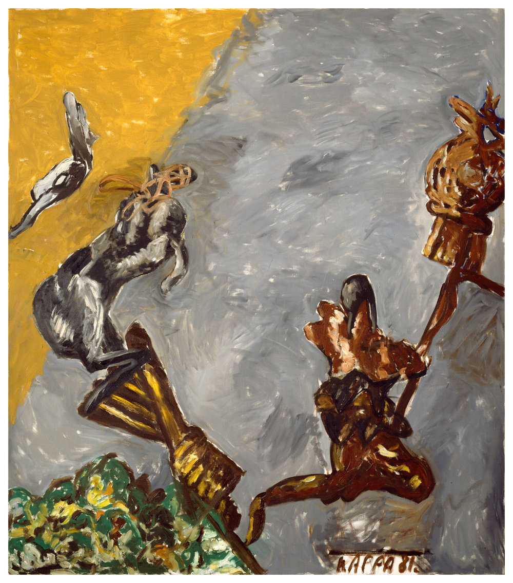 Frohbotschaft , 1981, Oil on canvas, 79h x 69w in (201h x 176w cm), Morat-Institute, Freiburg in Breisgau