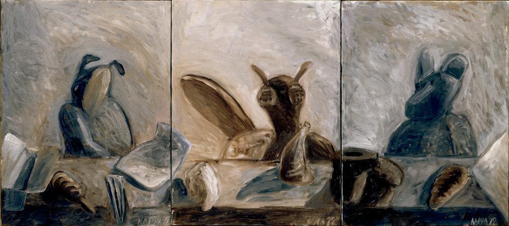 Gesellschaft , 1979, Oil on canvas, 31.49h x 70.86w (80h x 180w cm in three parts), Morat-Institute, Freiburg in Breisgau