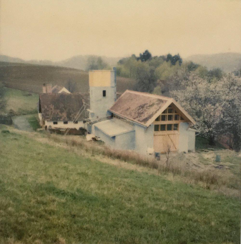 Kocherscheidt and Elfie Semotan's home in Jennersdorf, Austria, 1987
