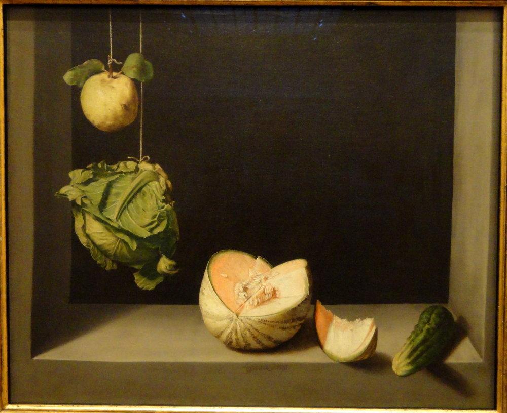 Juan Sanchez Cotan,  Quince ,  Cabbage, Melon and Cucumber , 1602